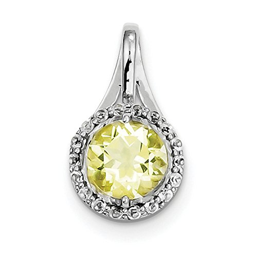 (925 Sterling Silver Rhodium-plated White Topaz & Lemon Quartz Circle Pendant)