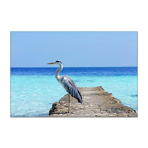 YLJH Placemats for Dining Table Heron Sea Ocean Bird Durable Kitchen Table Mats Washable Heat Resistant Stain-Resistant Non Slip Placemat]()
