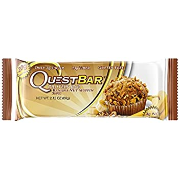 Quest Nutrition Protein Bar, Banana Nut Muffin, 20g Protein, 4g Net Carbs, 180 Cals, High Protein Bars, Low Carb Bars, Gluten Free, Soy Free, 2.1 oz Bar, 12 Count