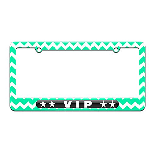 Graphics and More VIP Very Important Person - Stars - License Plate Tag Frame - Teal Chevrons Design -  061716LP3461.White0013
