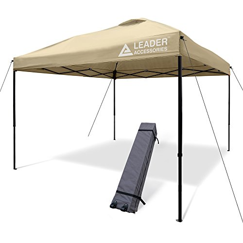 (Leader Accessories 10' x 10' Pop Up Canopy Tent Instant Shelter Portable Folding Canopies Straight Leg with Wheeled Carry Bag, Beige)