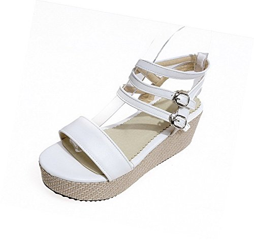 AllhqFashion Women's Open Toe Kitten Heels Soft Material Solid Buckle Sandals White hzrrBR7Wdi