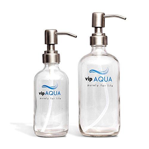 Vipaqua Clear Glass Soap Dispenser with Stainless Steel Pump, 16oz & 8oz (2 Pack), for Kitchen & Bathroom, Perfect for Handmade Soap, Shampoo, Essential Oil, Mouthwash Liquid, Lotion, EXTRA FREE PUMP - Liquid Mouthwash