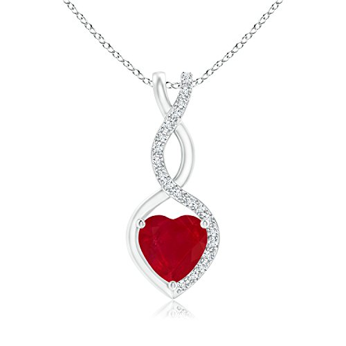July Birthstone - Floating Ruby Infinity Heart Pendant for Women with Diamond Accents in 14K White Gold (5mm Ruby)