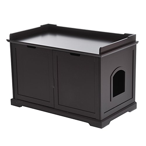 PawHut Covered Cat Litter Box Washroom Storage Hideaway Cabinet (Espresso)