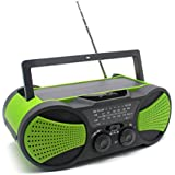 Emergency Weather Crank Solar Radio with Audio Input, 4000mAh Power Bank, 3W Flashlight, Reading Lamp & SOS Alarm for Hurricanes, Tornadoes, Storms (Green)