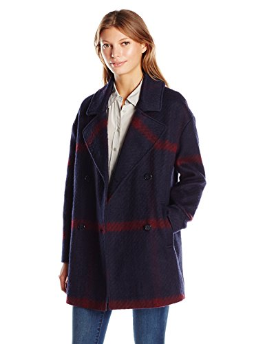 Tommy Hilfiger Women's Double Breased Oversized Wool Coat, Blue/Red Plaid, XL