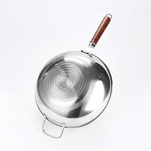 34cm Batterie de cuisine Wok antiadhésifs Cooker # 304 en acier inoxydable Marmite Uncoated Wok Pan Frying Cuisine Pot (Color : -)
