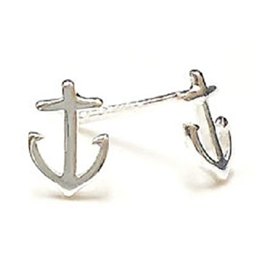 925 Solid Sterling Silver Tiny Anchor Boat Sailing Stud Earrings, Mini Nautical Minimalist Ocean Jewelry