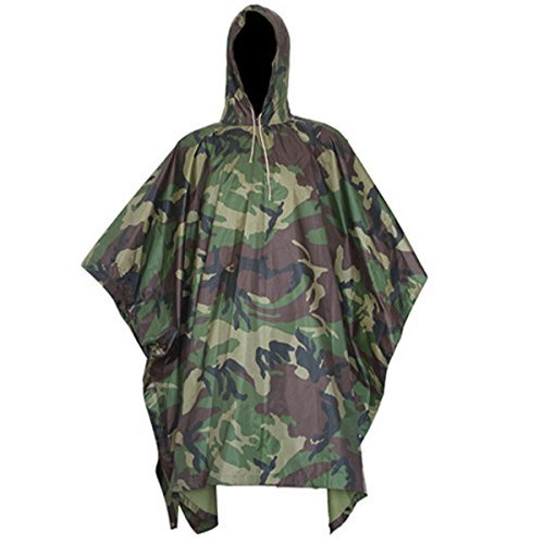 CAMTOA 3in1 Waterproof Rain Poncho,Multifunctional Military Camo Raincoat - Waterproof Tent Camping Rain Cover for Climbing Camping Hiking Jungle (Classic Raincoat Liner)
