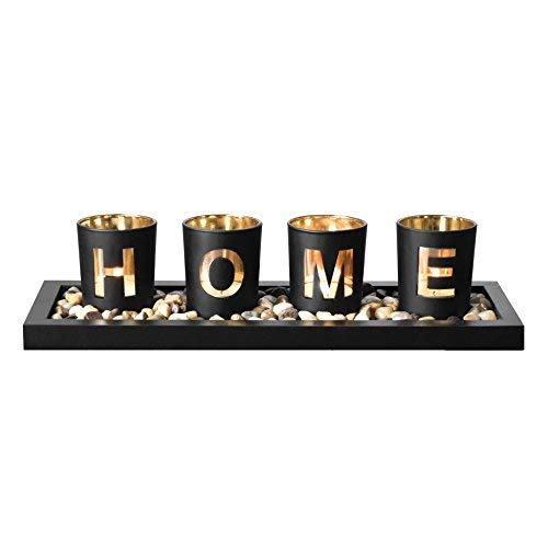 Candle Holder Set, Includes Ornamental Earth Stones Black Wood Tray and 4 Glass Cups Featuring 'HOME' Wording, Decorative Holiday Gift for your Loved One.]()