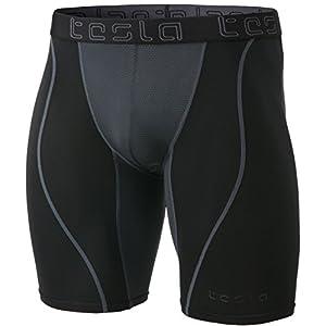 TM-MUS77-BKH_X-Large Tesla Men's Mesh-Panel Compression Shorts Baselayer Cool Dry Sports Tights MUS77