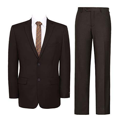 Men's Suit 2-Piece Classic Fit Solid Color Single Breasted 2 Buttons Jacket Dress Pants Brown