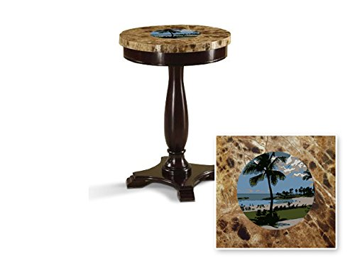 New Round Top Espresso / Cappuccino Finish Night Stand End Table with Faux Marble Table Top featuring Hawaii Theme by The Furniture Cove