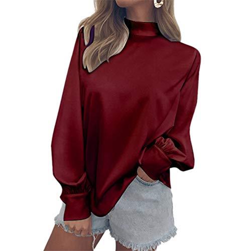 Soie Unie Couleur Bouffantes Manches Tops Shirts Casual Haut Rouge Pullover Mousseline Baijiaye Femmes Col Blouse Manches Longues Vin De Chemise aggqwTY