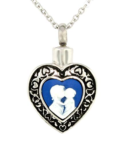 Heartfelt Mother and Child Blue and White Cameo Cremation Jewelry Necklace Urn Memorial Keepsake Pendant for Ashes with Funnel Fill Kit