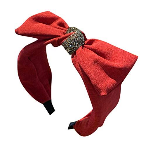 Fashionhe Women's Bow Hair Pieces Headband Creative Wide-brimmed Headwear Head Hoop Hair Combs Accessories (Red)