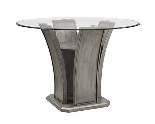 Dining Table Wash Wood (Abbey Avenue D D-Iss-Crdt Issey Round Counter Dining Table, Gray Wash)