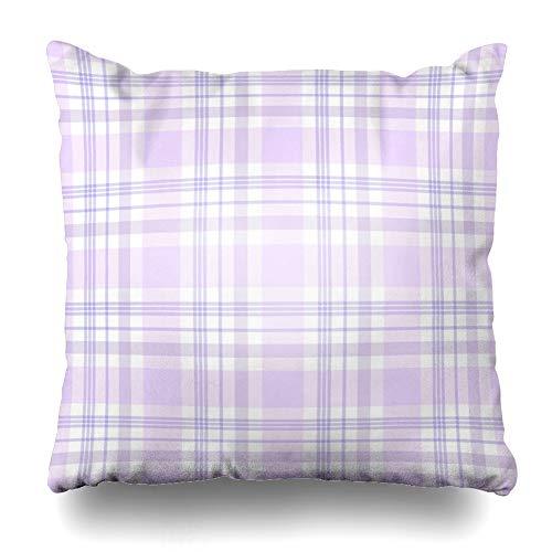 (Ahawoso Throw Pillow Cover Square 18x18 Inches Stripes Purple White Tartan Plaid Pattern Shades Pale Chic Pastel Pink Check Lavender Border Zippered Cushion Pillow Case Home Decor Pillowcase)