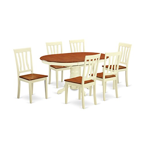 East West Furniture AVAT7-WHI-W 7 Piece with 6 Wooden Chairs Avon Dining Set