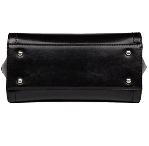 JeHouze Handbag Leather Crossbody Women's Bag Handle Purse Genuine Black Satchel Top 114H0xn