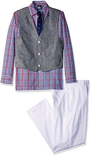 Izod boys 4-Piece Formal Vest Set with Shirt, Vest, Pants, and Tie, Bubble Gum/Lobster Tie, 8