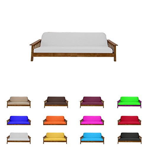 Futon Mattress Cover Solid Color Choose Color and Size Twin Full Queen (Queen (6x60x80), White)