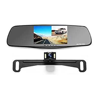 """AUTO-VOX M3 Full HD 1080P Upgraded Dual Lens Dash Cam Front and Rear Dash Cam Rear view Mirror Monitor 5"""" Screen and IP 68 Waterproof Backup Camera License Plate with LED Superior Night Vision by AUTO-VOX"""