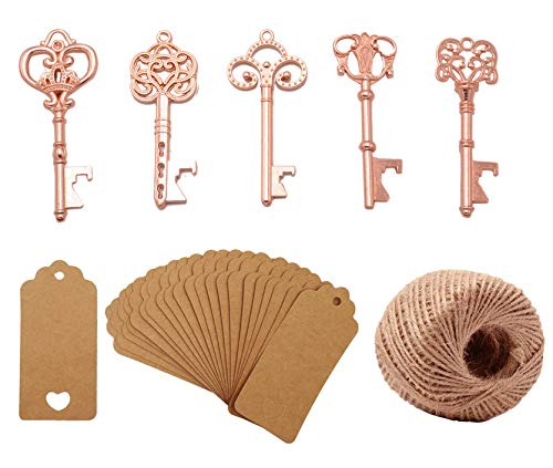 Yansanido Pack of 50 Rose Gold Skeleton Key Bottle Opener with Escort Tag Card and Twine for Wedding Favors Baby Shower Return Gifts for Guests Party Favors (mixed 5 styles Rose Gold) -