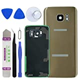 LUVSS Rear Glass Assembly for [Samsung Galaxy S7 Edge] G935 Back Glass Panel Replacement + Camera Glass + Flash Lens with Opening Tools Kit (Gold)