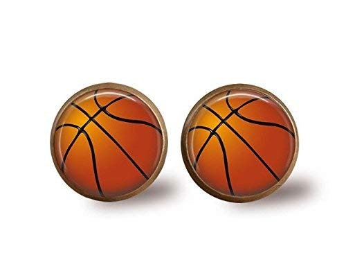 Pendientes de baloncesto antiguos, cristal cúpula arte, baloncesto ...