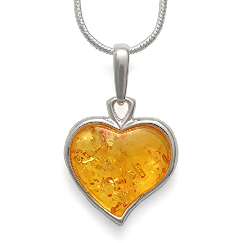 925 Sterling Silver Heart Pendant Necklace with Genuine Natural Baltic Honey Amber. Chain Included