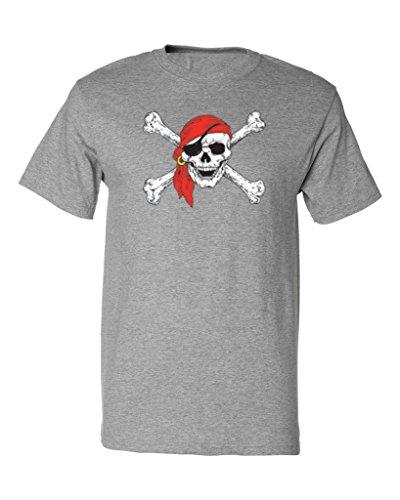 P&B Pirate Skull Crossbones Men's T-Shirt, M, H. Grey