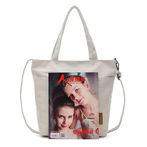 BYD - Unisex Men Mujeres Large School Bag Bolsos totes Shopping Bag Canvas Bag Color puro Carteras de mano Blanco