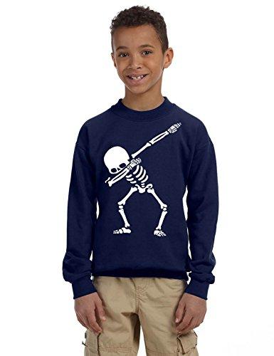 - Allntrends Kids Youth Sweatshirt Dabbing Skeleton Cool Hip Hop Dab Skull Gift (L, Navy Blue)