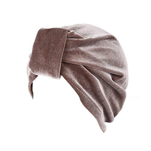YEZIJIN Women Indian Style Velvet Turban Hat Bandana Chemo Head Wrap Muslim Headscarf Summer Best 2019 New Brown