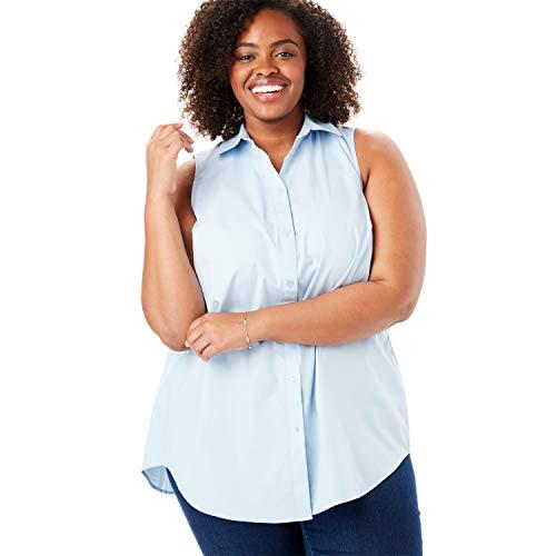 Woman Within Women's Plus Size Perfect Button Down Sleeveless Shirt - Chambray Blue, 14/16