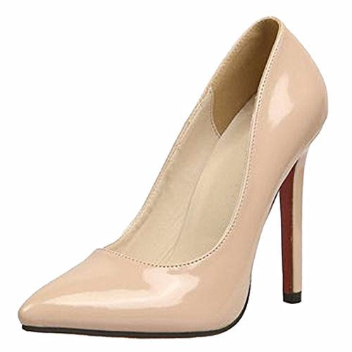 Toe High 2016 Pointy Leather Stilettos Faus Shoes Pump Sexy apricot Heel Women Fashion nSSwzqTH0