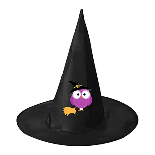 Hooters Costumes Halloween (Halloween Owl on Broom Halloween Black Witch Hat For Halloween Costume Accessory Cap For Party Halloween Carnivals)
