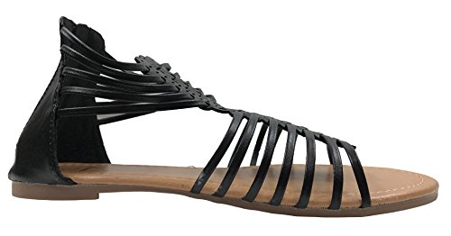 Picture of Kids Athena Weaved Strappy Gladiator Flat Sandal with Zipper Girls, Black US M 10T