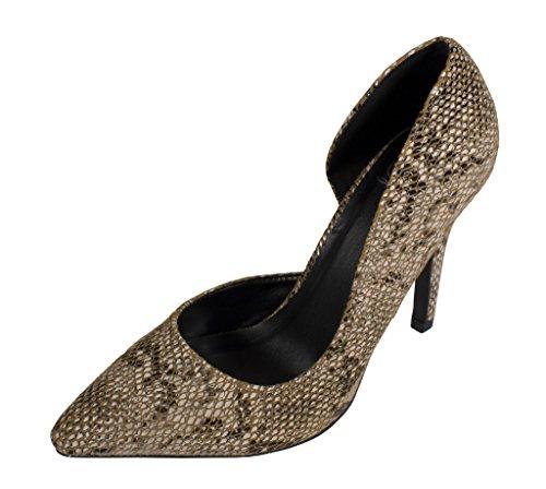 Lustacious Womens Classic Toe Toe Dorsay Vestito Slip On Pumps Tan Faux Python