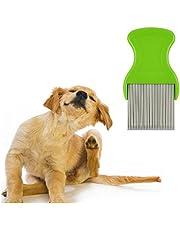 WSERE Flea Comb Pets Dog Cat Lice Comb Fleas Mite Tick Dandruff Remover for Dogs Cats, Remove Effectively, Gently Care Pets Skin, Ergonomic Design