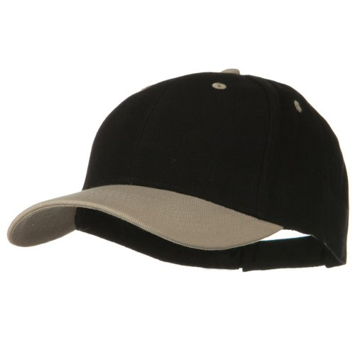 2 Tone Brushed Bull Denim Mid Profile Cap - Khaki Black OSFM (Tone Hat Two Baseball)