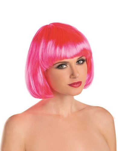 Be Wicked Women's Short Bob Wig, Hot Pink, One Size