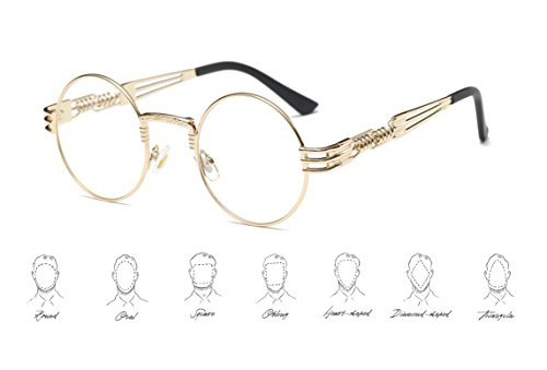 GAMT Steampunk Round Eyeglasses Metal Frame Clear Lens Eyewear for Men and Women - Retro Round Glasses