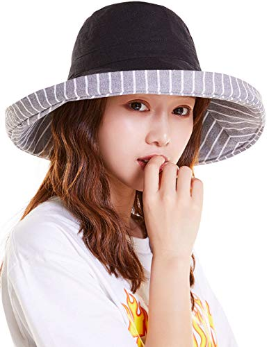 (Maylisacc Sun Hats for Women with UV Protection Wide Brim Wide-Brimmed Bucket Hat Ladies Stripe-Black)