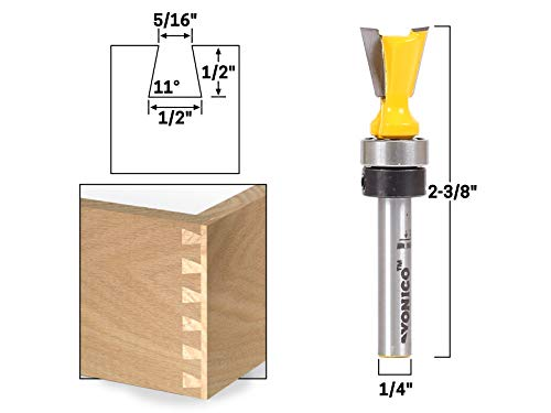 Yonico 14811q 11° X 1/2-Inch Dovetail Router Bit 1/4-Inch Shank