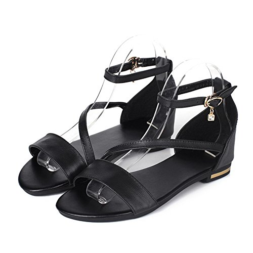 Black Toe PU Low Womens Buckle Heels AalarDom Solid Sandals Open AqPTz6