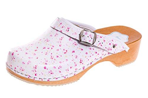 Fleur Futuro D4 Sabots Bois En Couleurs 43 Naturel Bonne Blanc Eu Semelle Fashion Cuir 36 Véritable Rose Santé Femmes Uni Unisexes Tailles RqnwRSxrAF