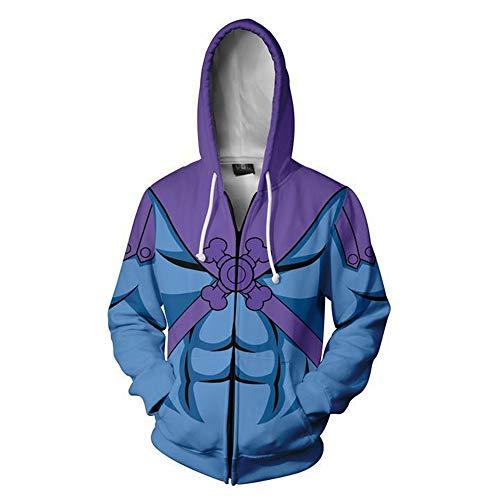 Wsysnl Cosplay Master of The Universe Unisex Adult 3D Style Zipper Hooded Sweatshirt